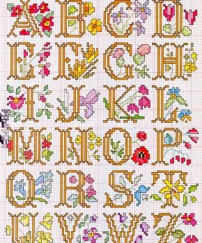 alfabeto romanticamente fiorito