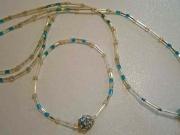 Parure collana e braccialetto con Swarovski azzurri