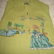 Cardigan di cotone verde ricamato