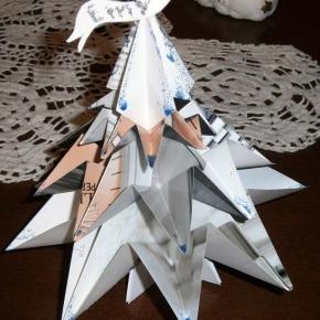 Abete origami argento