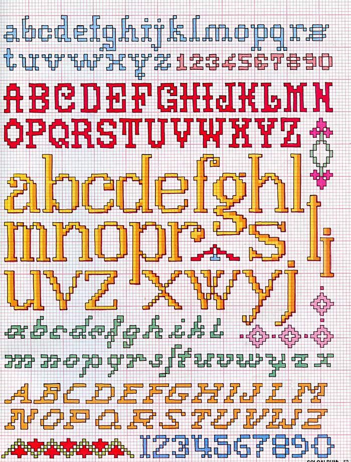 Alfabeti a punto croce meryweb for Ricamo punto croce alfabeto