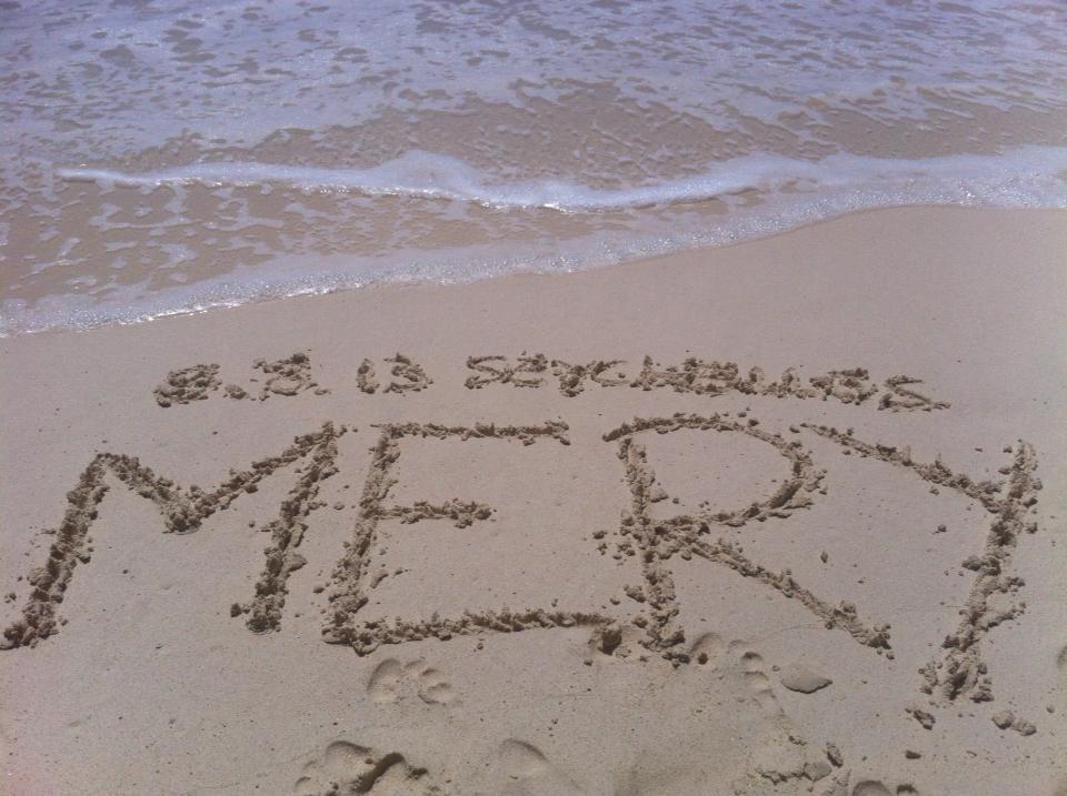 Il mio nome sulla spiaggia delle Seychelles