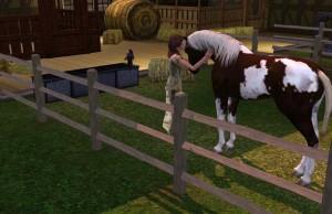 Amalia con Laika nella stalla