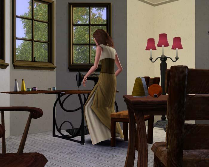 Amalia alla macchina da cucire