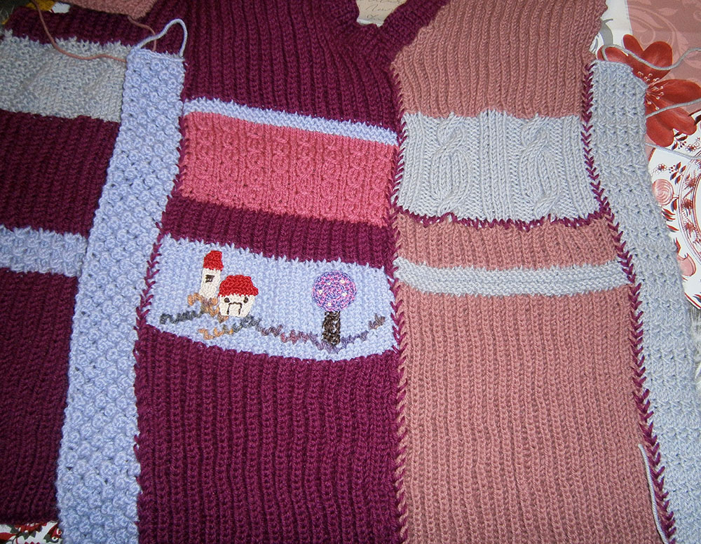 gilet con strisce di lana